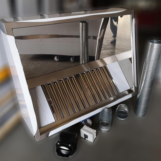 Commercial Kitchen Extractor Canopy Hood Kit 1500 mm With Motor