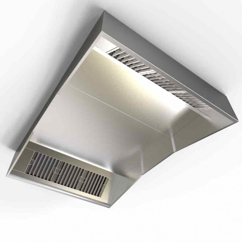 Industrial Kitchen Ventilation Hoods: Commercial Pizza Extraction Oven Canopy Hood 3000mm Kit